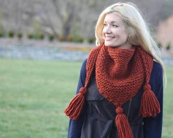 Triangle Scarf Knitting Pattern- Chunky Knit Scarf Pattern- Scarf with Tassels- Triangle Shawl- Knit Wrap Scarf Pattern- Super Bulky Knit