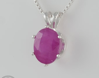 Ruby Pendant Prong Set in Sterling Silver