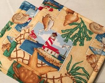 Lighthouse Print Pot Holders Set of 2