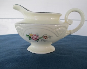 Vintage Homer Laughlin Floral Gravy Boat Creamer Marked Made In USA #K48N8 Dinnerware Replacement China Housewares China Home Decor