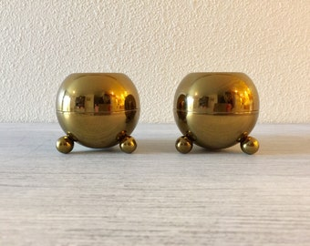 Brass Candle Holders, Mid Century Candle Holders, Brass Candlesticks, Atomic Style Candle Holders, Brass Wedding Candles, Vintage Pilcher