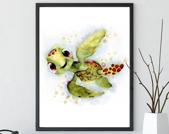 Finding Dory Print, Crush, Watercolour Squirt Decor, Disney Prints, Finding Nemo Art, Nursery Decorations, Kids Room Wall Art