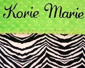 Personalized Baby Girl Blanket , Baby Zebra Blanket , Minky Dot and Zebra - Baby Toddler Size 30x36