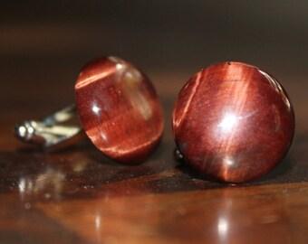Red Tiger Eye Cuff Links, Burgandy Stone Cuff links