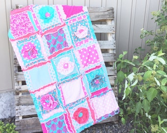 Floral Crib Bedding Rag Quilt - Baby Pink / Turquoise / Hot Pink Crib Bedding Baby Blanket - Turquoise Quilt Baby Girl Nursery - Girl Quilt