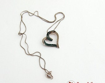 SaLe! sALe! Figural Curly Heart Pendant Chain Necklace Toraz CZ Sterling Silver
