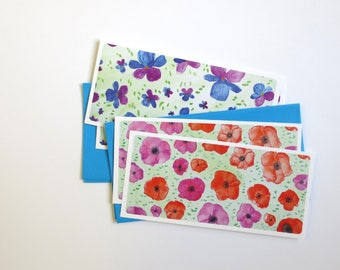8 Flower cards of pencil drawing poppy and pansie printed in holland - blue envelopes included - custom orders possible