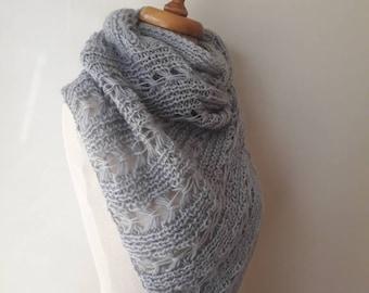 Grey cashmere Mohair  wedding Shawl, bridal shawl, bredismaid shawl - For her mom gift