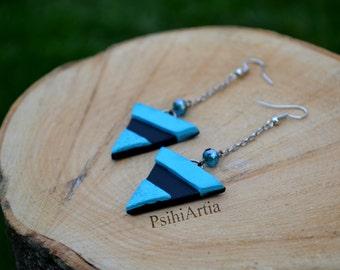 Blue dangle earrings Triangle earrings Black and blue earrings Polymer clay earrings Polymer clay jewelry Triangle jewelry One of a kind jew