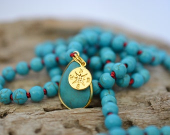 WANDERLUST MALA ॐ Turquoise mala 108+1 beads, Prayer Beads, Meditation, Yoga, Necklace, Tassel, Handmade, Gold Compass OM Charms