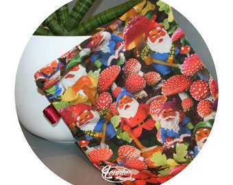 Garden GNOME - Lenniestories pouch cosmetics / Make-up bag / Birthday gift for him and her case pouch
