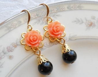 75% Off Price Sale, Orange/Peach Rose, Gold Tone Filigree, Czech Glass Bead