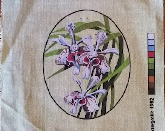 Vanda Orchid Hand Printed Petite Point Tapestry - 1982 by Baxtergrafik