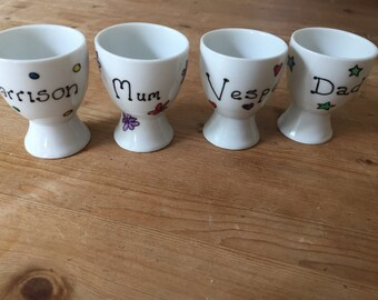 Personalised hand painted egg cups