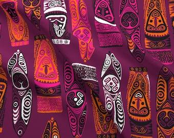 Purple Hawaiian Fabric - New Guinea Masks 2b By Muhlenkott - Tiki Cotton Fabric By The Yard With Spoonflower