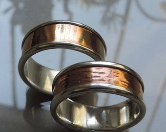 Rustic Wedding ring set,  wedding rings, Silver Bronze and Copper rings, Free engraving,  Wedding rings set - Made to order