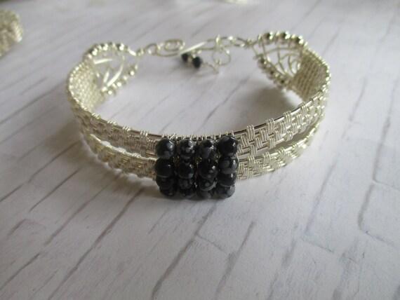 Snowflake Obsidian Wire Wrapped Cuff Bracelet B65185