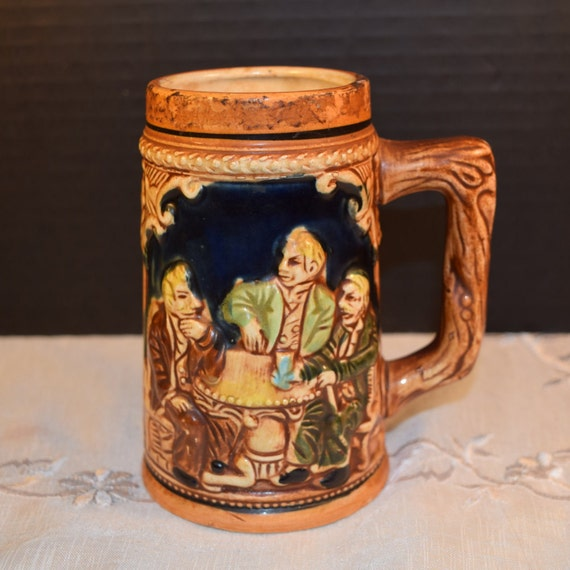 English Pub Beer Stein Vintage Beer Mug Pub Scene Oktoberfest Barware Ceramic Stein Old English Men Drinking Scene Tavern Decor Gift for Him