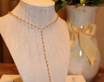 Gold Layering Long Rosary Y Necklace