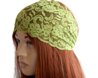 Green lace headband, Lace head wrap, wide lace headbands, Women hair band, lace turban, lace headband, yoga headband, hair accessories