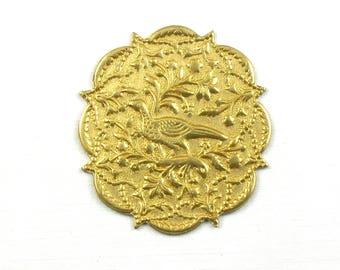 SALE 4 BIRD mandala jewelry embellishment brass  . 36mm x 40mm (T13).