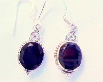 HUGE SALE  8.78cts Natural Onyx Sterling Silver Earrings