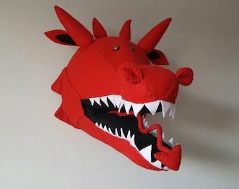 DRAGON - Faux Taxidermy - Felt Wall Mounted Animal Head - Dylan Dragon - red - mythical creature - wall decor.