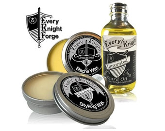 Every Knight Premium, All-natural Beard & Mustache Grooming Kit for Men - Oil, Wax/Balm, Wax Combo Set: Unscented