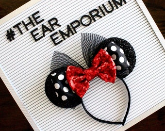 Black and White Polka Dot Minnie Mouse Ears Headband ~ Classic