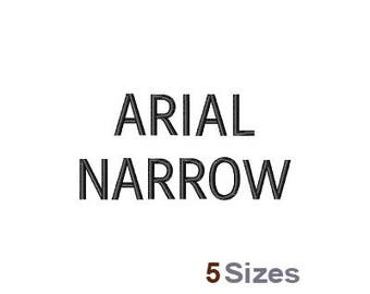 Arial Narrow Font - Machine Embroidery Font - 5 Sizes, Lettering, Alphabet, Font Set, Arial Narrow Font
