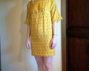 Curry yellow dress with border sequins, beading and embroidery