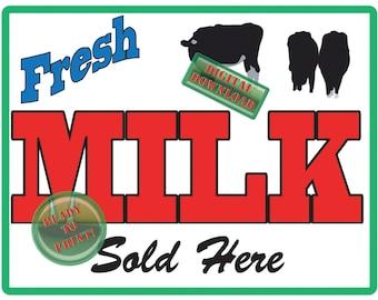 Fresh Milk Sold Here Printable Iron-on Transfer Image Farmers Market Sign Red Green Cow Vintage Retro Style Farm Art Kitchen Decor Yard Art