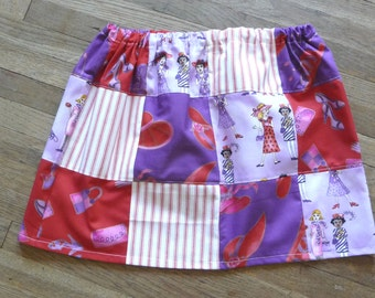 Girls Patchwork Skirt, Red Hat Design, Handmade Patchwork, Multi Colors, Patterns, Elastic Waist, Unique Clothing, Ladies Shoes, Cute Skirt