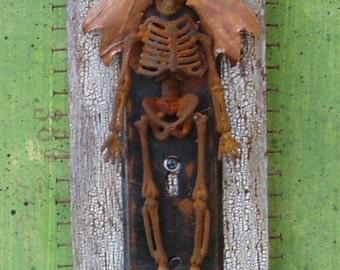 Assemblage Art Found Object Skeleton Shrine Halloween