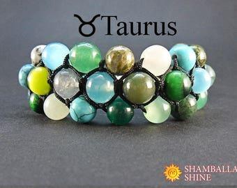 Birthstone beads bracelet Custom women jewelry Taurus jewelry Colorful stone jewelry Yoga women bracelet Wide bracelet Zodiac jewelry forher