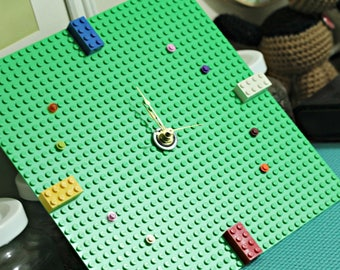 Green Lego Plate Block Clock with Quartz Movement AA Battery