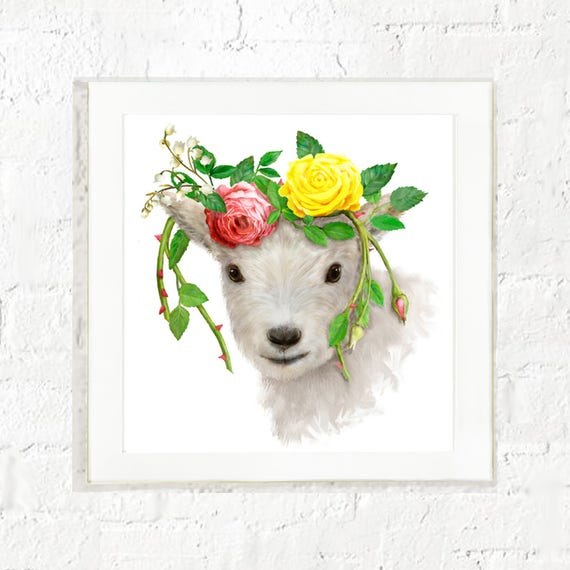Goat with flowers, kids farm animal wall art, goat art, nursery wall art, baby farm animal art, goat painting, art for kids walls, baby goat