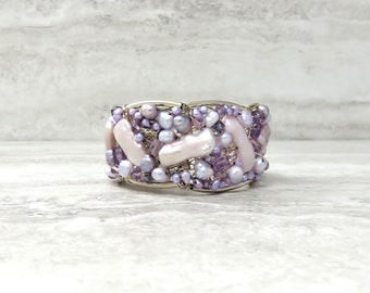 Lavender Cuff Bracelet in Amethyst & Sterling Silver-Violet Hand Wired Cuff with Lilac Freshwater Pearls