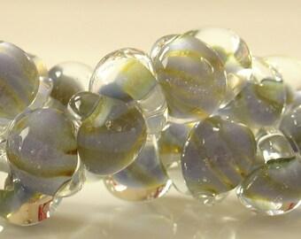 10mm Unicorne Tear Drop Lampwork Beads - Blue Twist- 4 Pieces - 21868