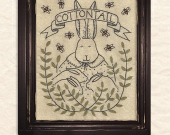 A Joyful Journey - New Stitchery pattern by Kathy Schmitz - April - Cottontail