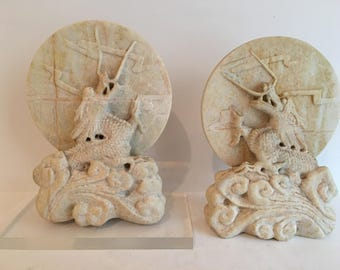 Carved Soapstone Dragon Bookends
