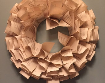 Book Wreath - Book Pages - Book Art - Book Pages Wreath - Wreath - Home Decor  - Indoor Wreath - Reclaimed Book - Paper Wreath