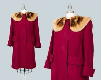 Vintage 1940s Coat   40s Wool Mouton Lamb Fur Collar Plum Burgundy Warm Winter Swing Coat (medium/large)