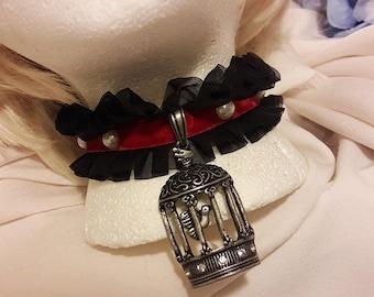 Lolita Choker Bird Cage Lace Pearls Elegant Gothic