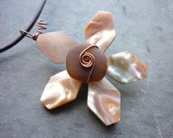 Sea Glass Necklace - Seashell Beach Seaglass Starfish Flower