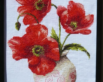 Poppies-5 cross stitch embroidered framed picture painting