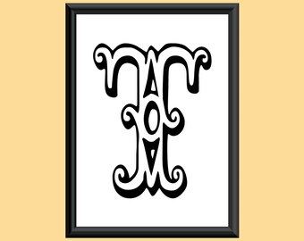 Typography Digital Print Monogram Initial Wall Art Tropicana Letter T