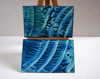 SET of 2 Blue, Teal Green Miniature Encaustic Abstract Paintings for Collectors / 1:12 Scale DIPTYCH Dollhouse Art / (SFA) Small Format Art