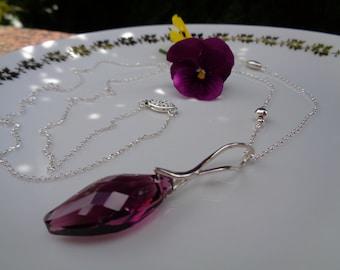 Necklace sterling silver, super long with Funkel-in violet Crystal