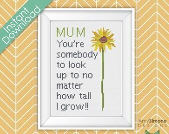 Mothers Mum Day Sunflower Grow Cross Stitch Pattern